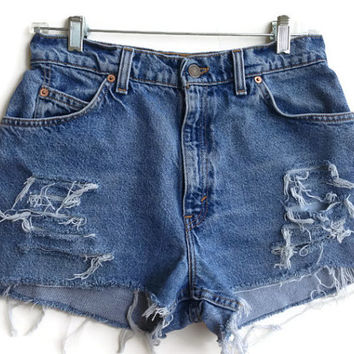High Waisted Levi Denim Shorts VIntage Levi's Size 7/8