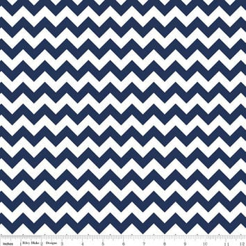 Chevron Cotton Fabric in Navy Blue and White by Riley Blake Designs, 1/2 Yard, Quilters Cotton, More Yardage Available