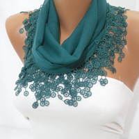 Green Cotton Scarf - Headband - Cowl with Lace Edge