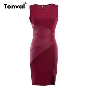 Tonval Women Faux Leather Summer Dress Office Sleeveless Pencil Dresses Burgundy Red Elegant Bodycon Fitted Dress