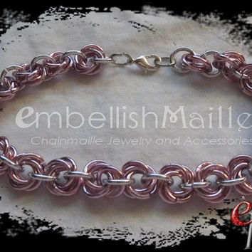 Pink Rosette Link Chainmaille Bracelet Mobius ball / Rose / Flower / Petal Lightweight anodized aluminum, great for those with metal allergy