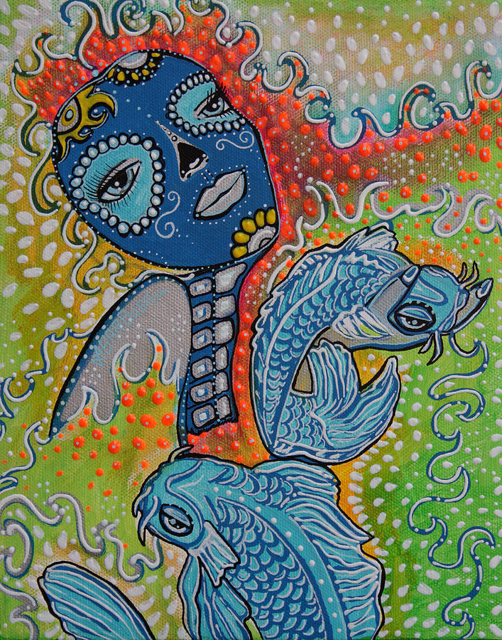 Koi fish sugar skull painting by laura from fine art america for Koi prints for sale
