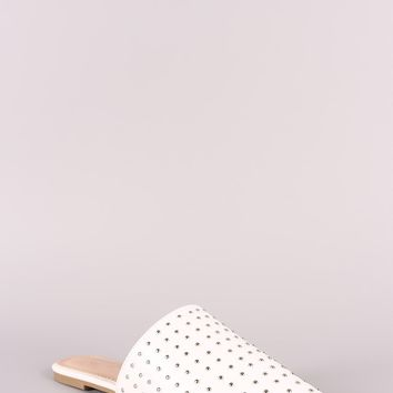 Studded Vegan Leather Pointy Toe Mule Flats