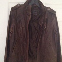 New With Tags Collezione SA Distressed Brown Leather Jacket Size L