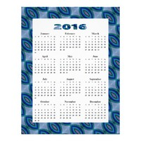 "2016 yearly Calendar Blue Ovals Pattern 8.5"" X 11"" Flyer"