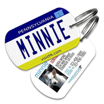 Pennsylvania License Plate Pet Tag - Personalized ID Name Tag for Dogs and Cats