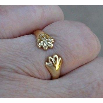 Luxinelle Cat or Dog Lover Paw Print Ring - 18K Yellow Gold