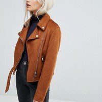New Look Petite Suedette Biker Jacket at asos.com