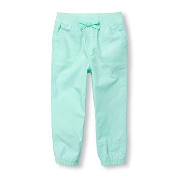 Toddler Girls Solid Knit Waistband Woven Joggers | The Children's Place