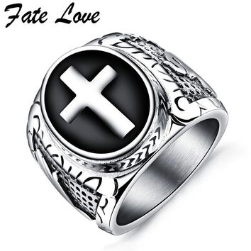 Fate Love Men Ring Vintage Cross Jewelry Punk Stainless Steel Finger Rings Fashion Party Ring Anillos Mens Jewellery Bague Homme