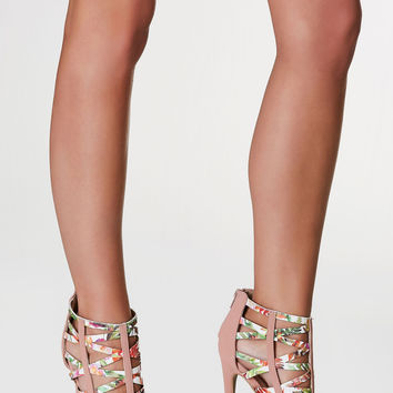 So Special Printed Caged Heels
