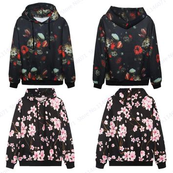 Plum Blossom Pink Sweatshirt Hip Hop Pullover Autumn Active Loose Skateboarding Hoodie Retro Floral Men Tracksuits Unisex Jacket