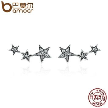 BAMOER Authentic 925 Sterling Silver Sparkling CZ Exquisite Stackable Star Stud Earrings for Women Fine Jewelry Gift SCE175