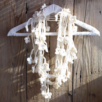 Pure Wool White Floral Scarf, Ivory White Flower Crochet Scarf