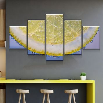 Slice of Lemon Kitchen and Dining Room Wall Decor Canvas Set