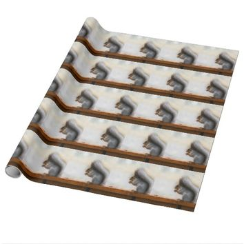 Squirrel on a bench and some nuts wrapping paper