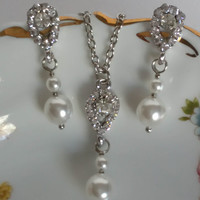 "Crystals and Pearls Bridal Earrings and Necklace Set ""Diamonds and Pearls"", Bridal Jewelry Sets, Pendant Necklace, Bridesmaid Jewelry Sets"