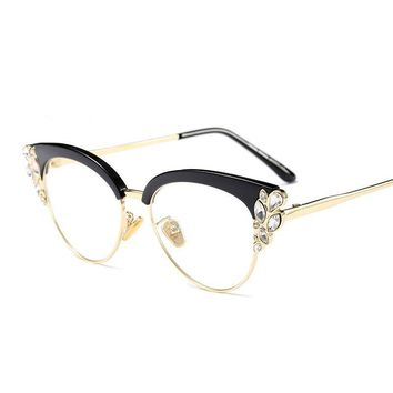 Royal Cat Eye Frames Women Rhinestone Eyeglass