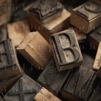 Vintage Ink Stamps - Fine Art Photograph, 5 x 3.5 inches, Wooden Stamps, Alphabet, Letters, Rubber Stamps