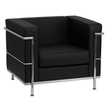 Flash Furniture ZB-BRETFORD-810-1-CHAIR-BK-GG Hercules Bretford Series Contemporary Black Leather Ch
