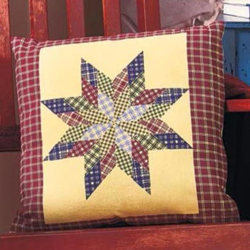 Accent Pillow Primitive Country Star Patchwork Quilted Checkered Rustic Decor