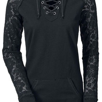 Black Lace-Up Long Sleeve Hoodie