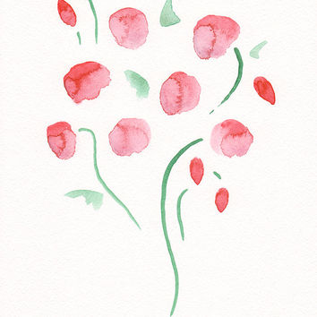 Watercolor flowers sketch. Simple red flowers. Abstract floral art. Minimalist illustration. Gallery wall decor idea.