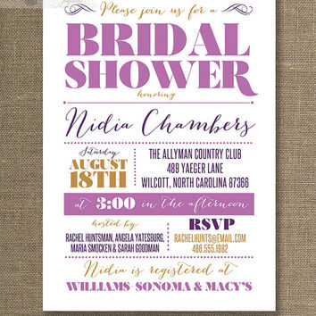 Radiant Orchid Bridal Shower Invitation Modern Puple Plum Gold Modern Typography Old Fashioned Vintage Printable Digital or Printed - Nidia