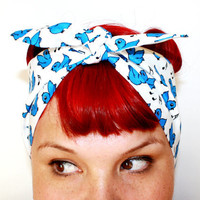 Bandanna hair tie Blue Birds Rockabilly Retro by OhHoneyHush