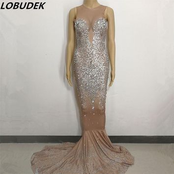 Female Glass Rhinestones Long Dress Mermaid dress Occident Bar Nightclub Singer Star Party Celebration sexy performance Costumes