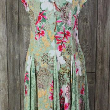 Cute Bila Floral Dress M size Green Pink Multi Color Crinkle Stretch Hippy Boho Beach