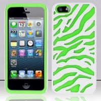 White Green Zebra Dual Flex Hard Hybrid Gel Case Cover For Apple iPhone 5