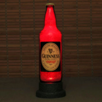 22oz Guinness Stout Beer Bottle Lamp Light Bar Man Cave Deep Ruby Red Glow