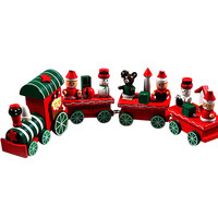 Lovely Charming 4 Piece little train Wood Christmas Train Ornament Decor Gift