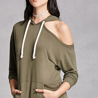 One-Shoulder Heathered Hoodie