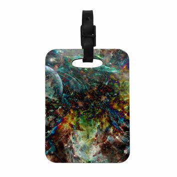 "Shirlei Patricia Muniz ""Space"" Blue Abstract Decorative Luggage Tag"