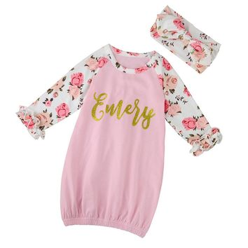 2PCS set Kids Baby Girls Floral Letters Long Sleeve Dress+Headband Set Clothes drop shipping girls dress