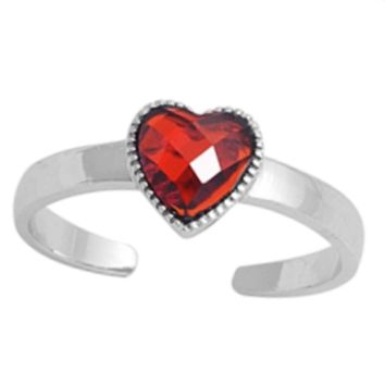.925 Sterling Silver Red Garnet Heart Adjustable Ring for Ladies and Kids Midi or Toe