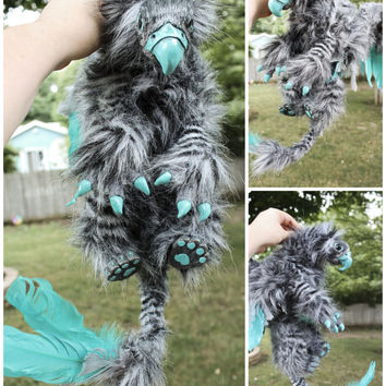 Wild Gryphon Poseable Art Doll Grey and Teal Ooak