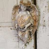 Angel statue wall hanging with heart French cottage heavily distressed ivory cherub ornate crown home decor anita spero design