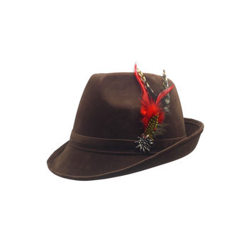 """German Hunter"" Brown Hat Fedora And Edelweiss & Feathers"