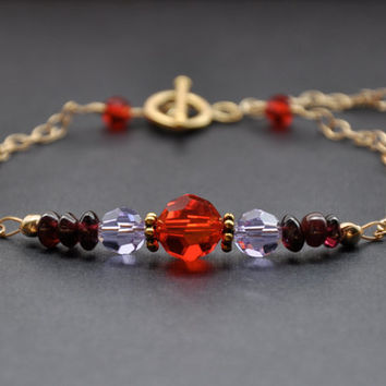 Garnet Bracelet, Red Violet Swarovski Crystal, 14K Gold Fill Sparkle Jewelry