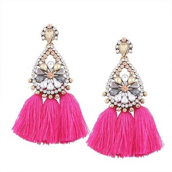 LZHLQ Tassel Earrings For Women Bohemia Boho Vintage Drop Earrings Female Fashion Jewelry Cute Big Large Alloy Crystal Earrings