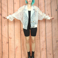 80s Club Kid White Sheer Mesh Bomber Jacket Artsy Ribbon Avant Garde  Batwing Jacket (M/L)