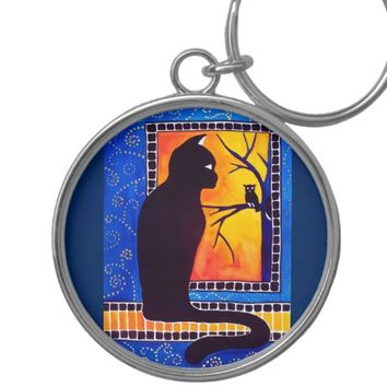Insomnia - Cat And Owl - Whimsical Black Cat Art Keychain