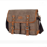 Classic Retro water washed canvas messenger bags for men m012