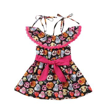 Girls Lace Skull Dresses Tutu Dress Sundress Clothes
