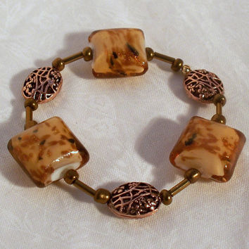 Bronze and Cream Stretch Bracelet by DesignsByDeb18 on Etsy