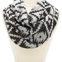 Aztec Print Infinity Scarf by Charlotte Russe - Black Combo