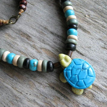 River Jade Turtle Necklace, Turquoise Magnesite Beaded Necklace, Tribal Necklace, Totem Animal Jewelry, Mens Womens Necklace, Wood Necklace